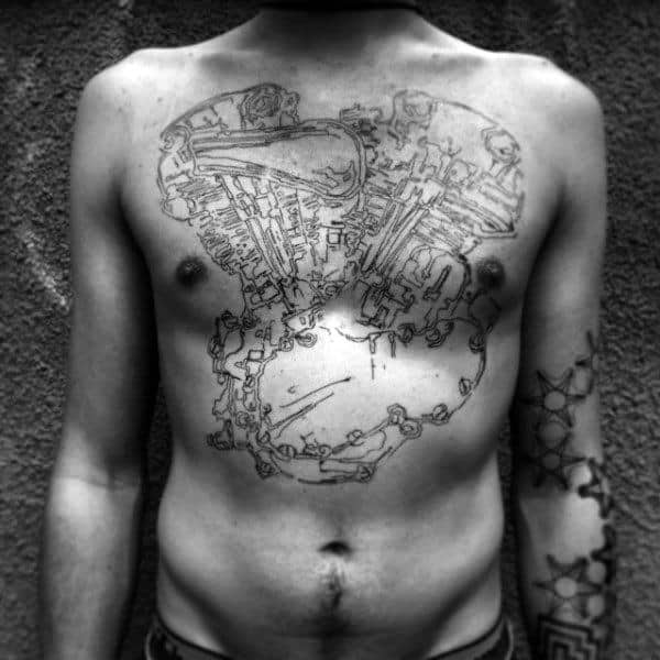 Black Outline Of Engine Tattoo Male Chest