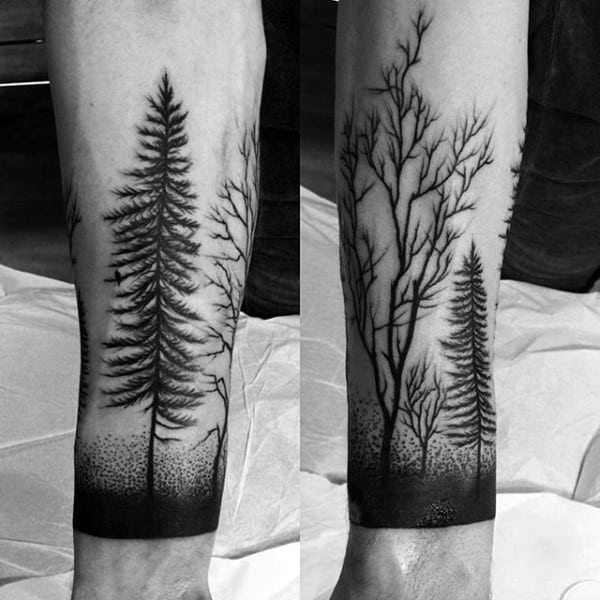 fc68a7ff7 Black Outline Simple Forest Scene With Bird Half Sleeve On Gentleman