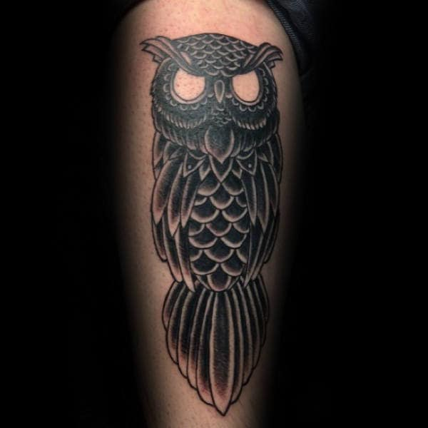 Black Owl Male Traditional Thigh Tattoo Designs