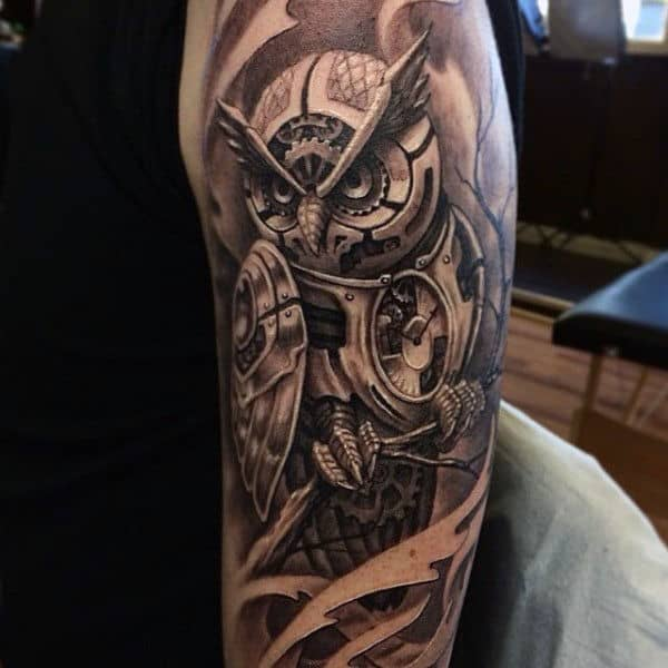 Black Owl Tattoo For Guys Half Sleeve