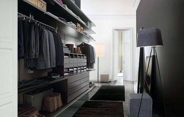 Black Paint Mens Walk In Closet With Floor Lamp Decor