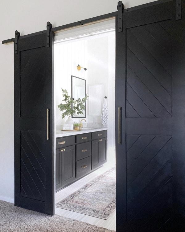 Black Painted Bathroom Barn Door