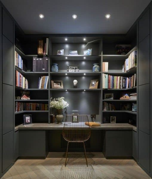 Black Painted Bookcase Office Built In Desk Ideas