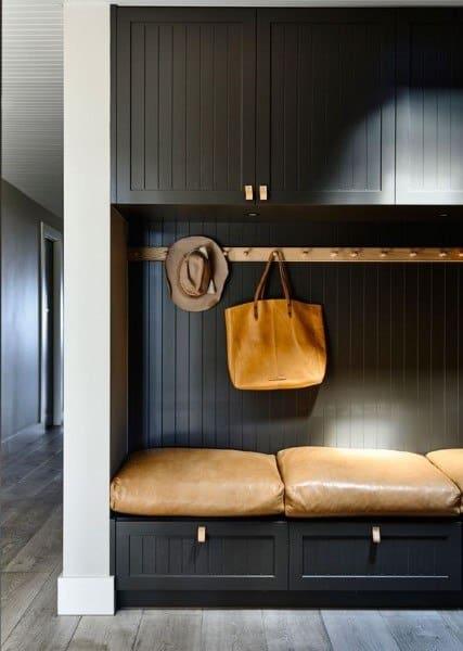 Black Painted Cabinets Mudroom Ideas