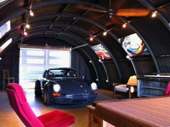 Black Painted Ceiling With Track Garage Lights And Fan