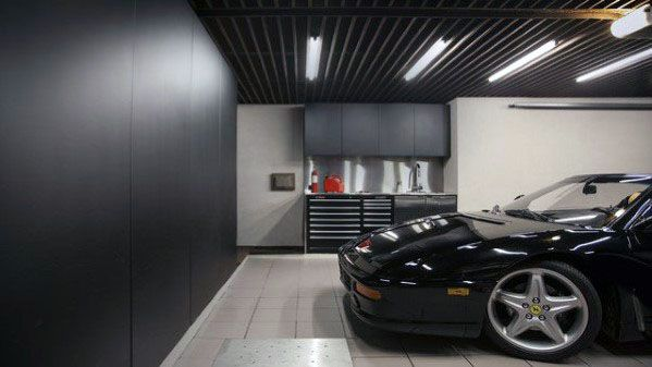 Black Painted Garage Ceiling Ideas
