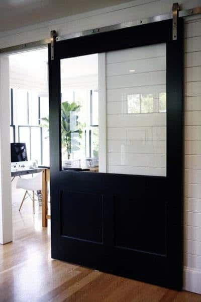 Black Painted Glass Window Barn Door Ideas With Polished Stainless Steel Hardware