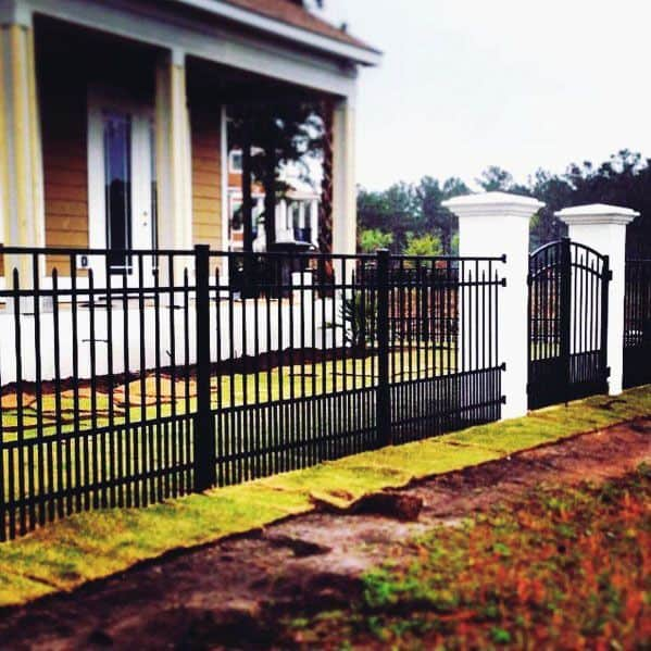 Black Painted Metal Dog Fence Ideas