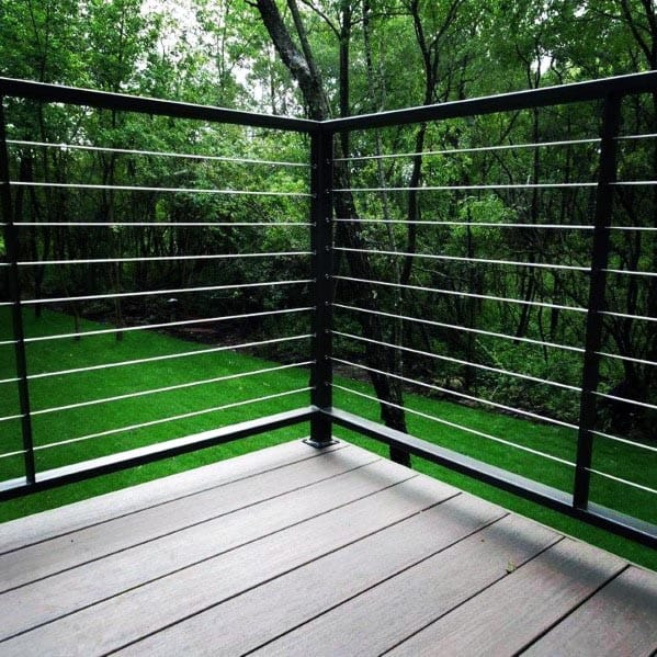 Black Painted Metal With Stainless Steel Wire Backyard Designs Deck Railing
