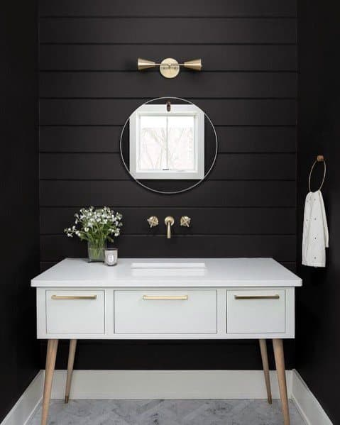 Black Painted Shiplap Wall Bathroom Design Ideas