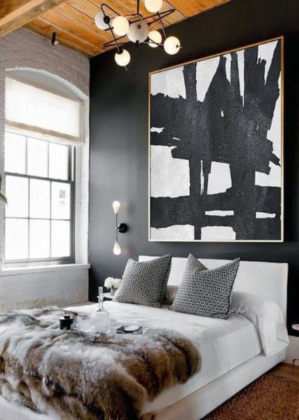 Black Painted Walls With White Bedding Mens Bedroom Design Ideas