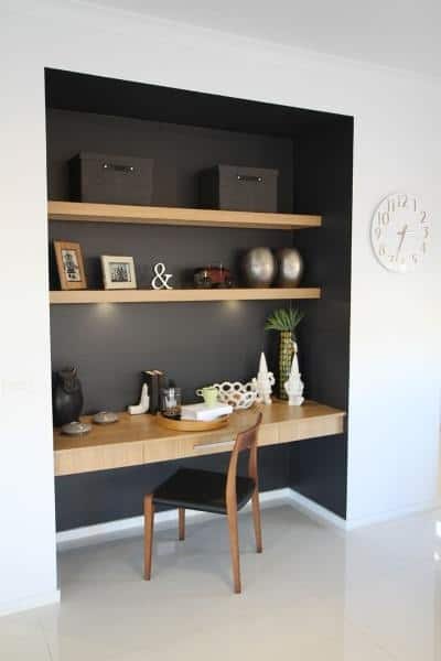 Black Painted Walls With Wood Shelving Built In Desk Ideas