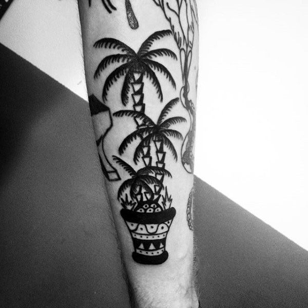Black Palm Tree On Ethnic Pot Tattoo For Men On Legs