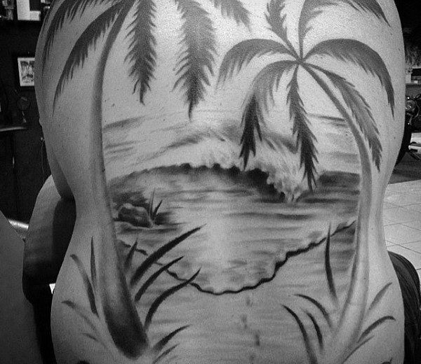 Black Palm Tree Seawave Tattoo On Whole Back For Men