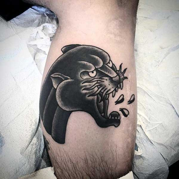 Black Panther Head Tattoo For Guys On Leg Calf