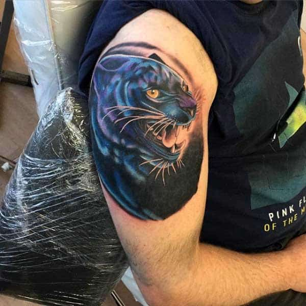 Black Panther Mens Tattoo On Upper Arm