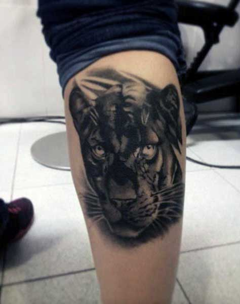 Black Panthers Tattoo For Guys On Back Of Leg Calf