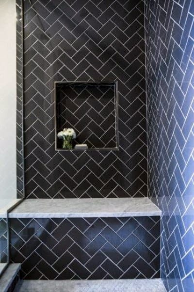 Black Pattern Bathroom Tile Shower Ideas