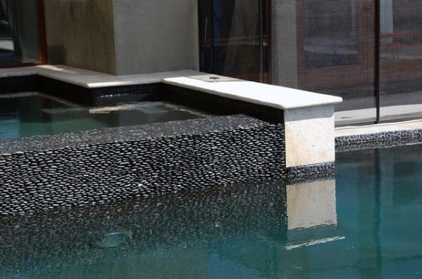 Black Pebble Stone Waterline Ideas For Pool Tiles