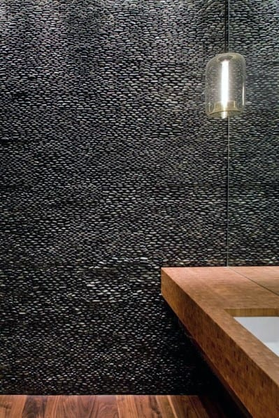 Black Pebble Tile Stones Interior Textured Wall Design