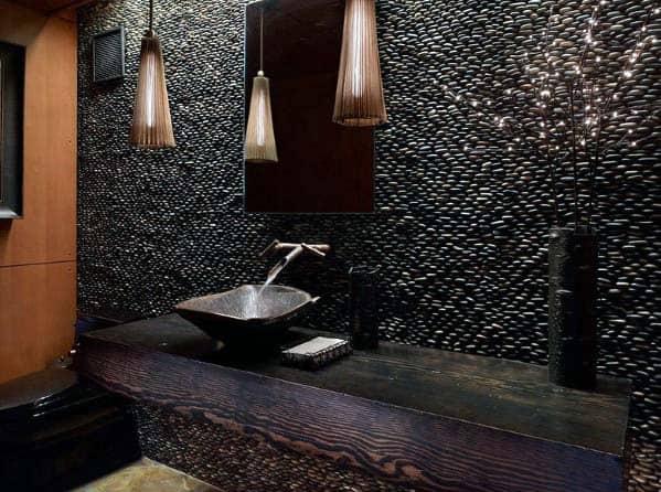Black Pebble Wall Tile Bathroom Ideas With Wood Vanity