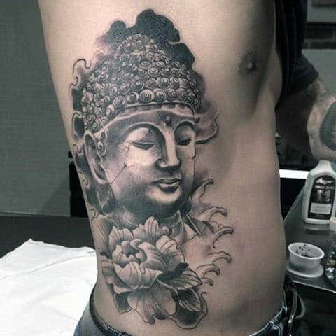 Black Pencil Art Buddha And Flower Tattoo For Men On Rib Cage Side