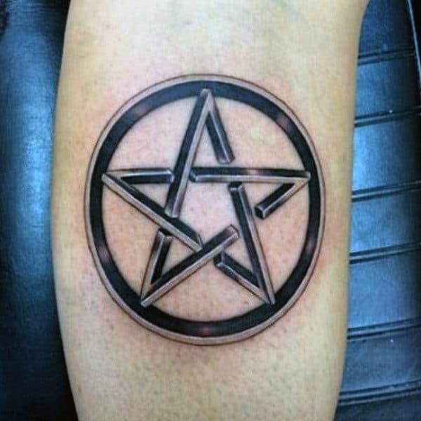 Black Pentagram In Circle Tattoo Male Arms