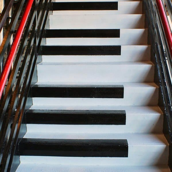 Black Piano Key Themed Design Ideas For Painted Stairs