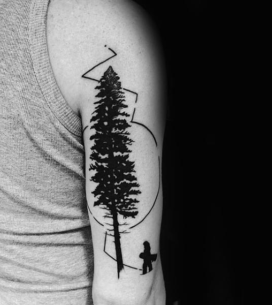 Black Pine Tree And Snowboard Tattoo Male Arms