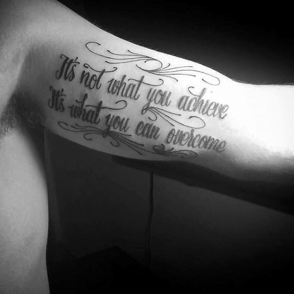 Black Quote Tattoo Men Inner Biceps