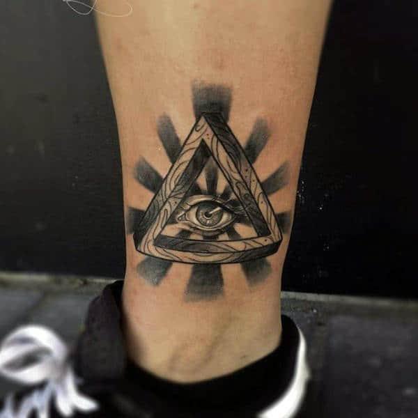 Black Rays Illuminati Tattoo Male Ankles