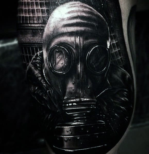 Black Realistic 3d Gas Mask Tattoo For Men