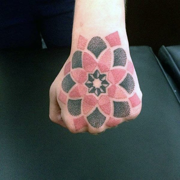 Black Red Dotwork Flower Tattoo Male Hands