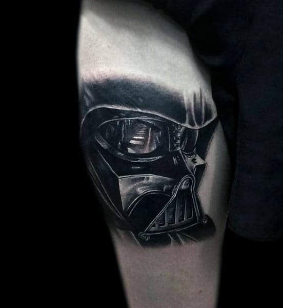 Black Reflective Darth Vader Tattoo Male Legs