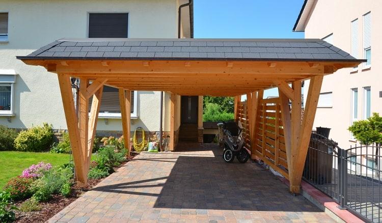 Black Roof Wooden Carport Ideas
