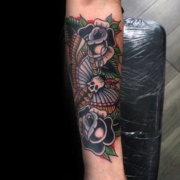 Black Rose Flower With Skull Moth Traditional Inner Forearm Tattoos For Men