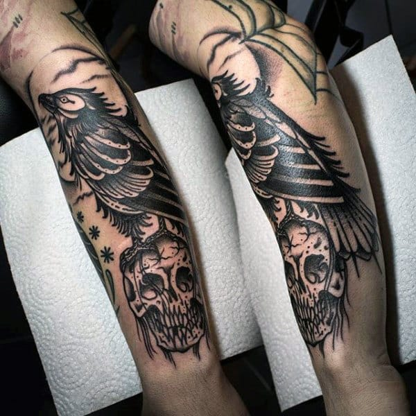 Black Skull And Raven Tattoo On Forearms For Men