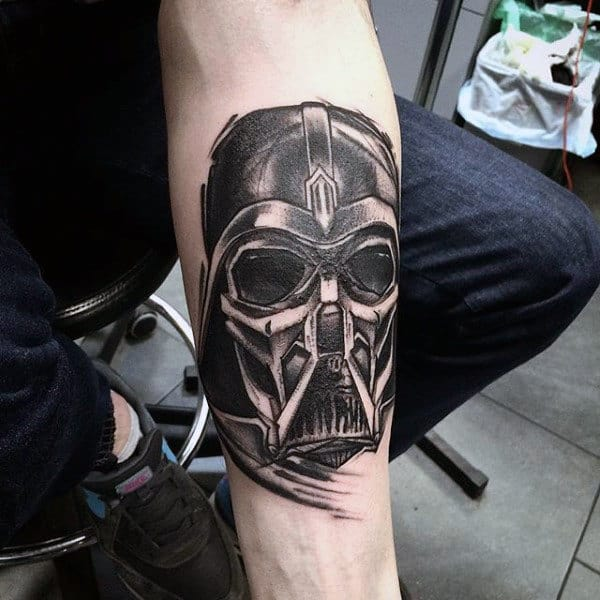 Black Skull Darth Varder Tattoo Male Forearms