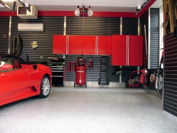 Black Slat Wall Ideas For Garage Storage With Red Cabinets