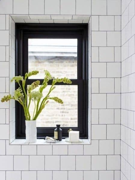 Black Small Contemporary Shower Window Ideas