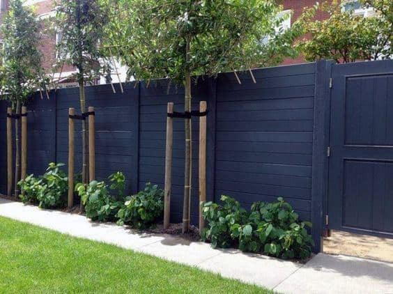 Black Stained Exterior Ideas For Wood Fence