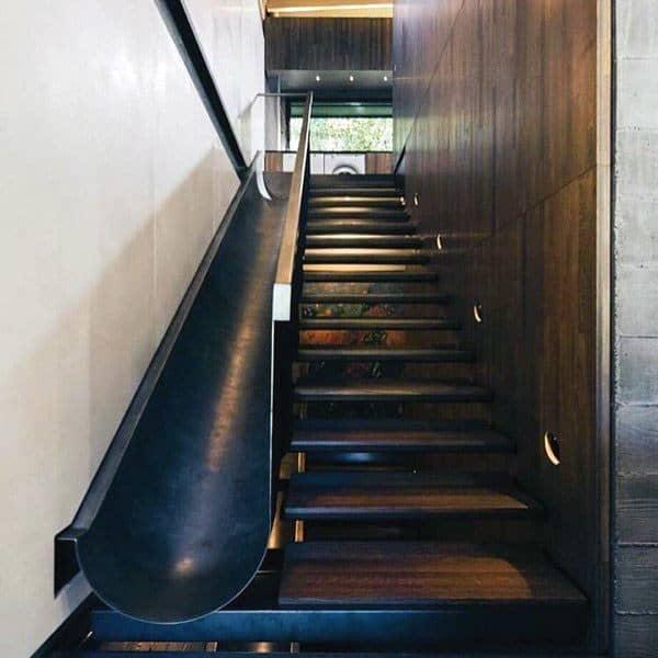 Black Steel Indoor Slide Staircase Ideas