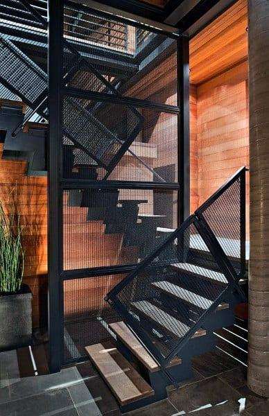 Black Steel Industrial Look Staircase Ideas