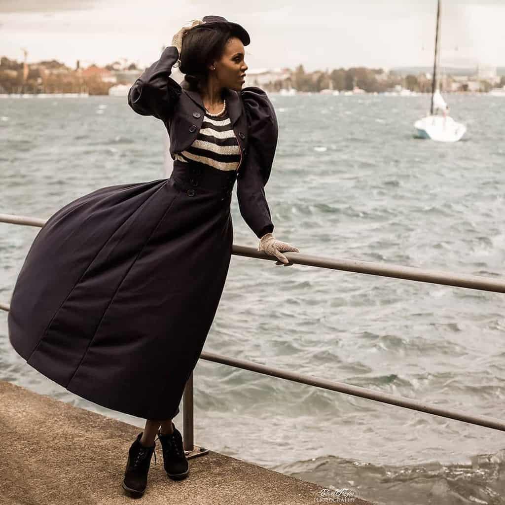 Black Stripe Dress Victorian Style
