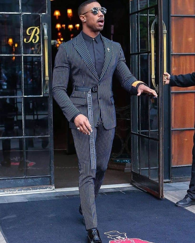 Black Stripe Suit And Pants Mens Outfit