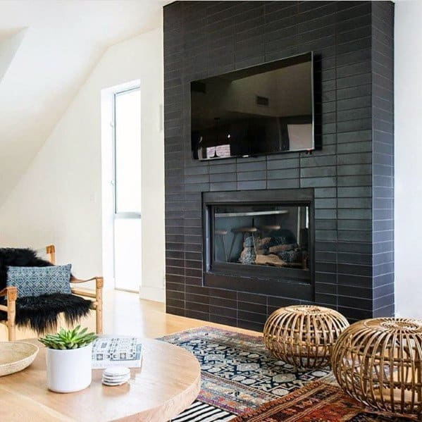 Black Subway Tile Fireplace Ideas