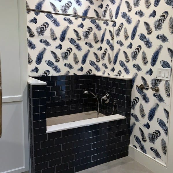 Black Subway Tile Home Dog Wash Station Ideas