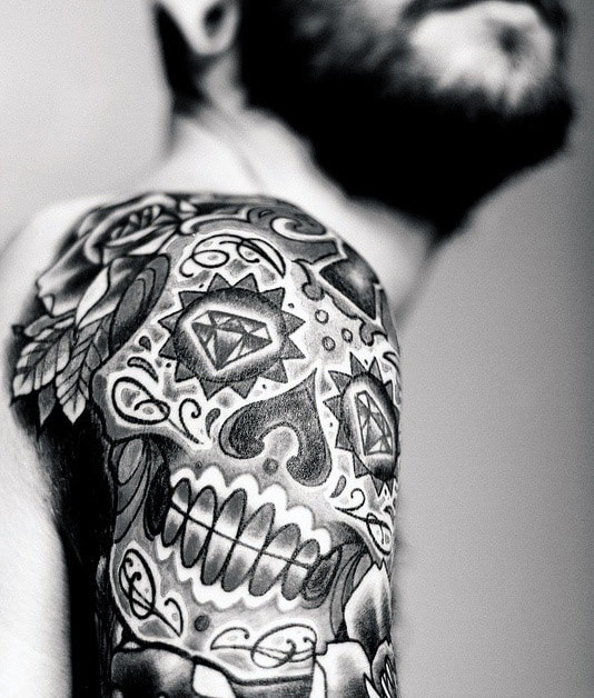 Black Sugar Skull Male Tattoo On Shoulder And Arm