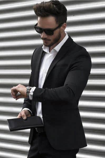 Black Suit Styles For Gentlemen Without Tie