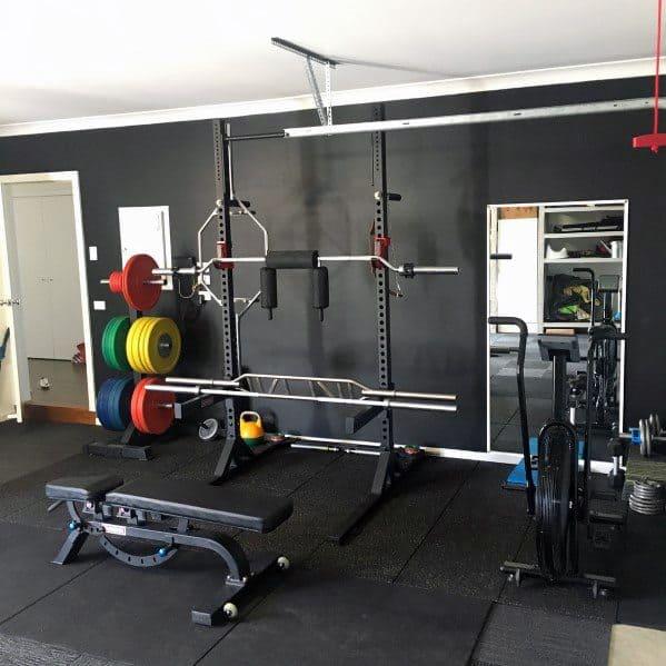 Black Themed Flooring And Walls Garage Gym Ideas